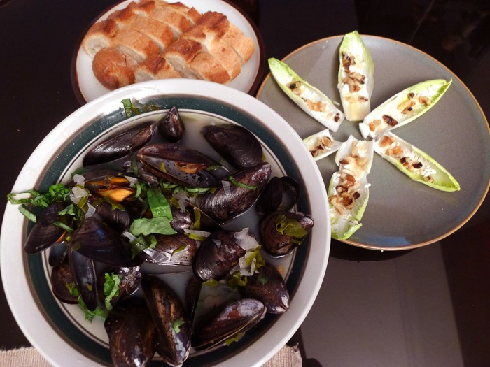 West Coast mussels in white wine, shallots, and basil