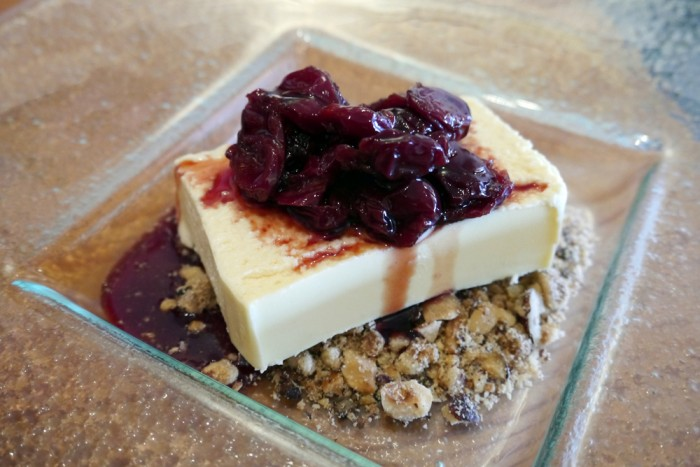 Norwoods - For dessert, we polished off a Baked Goats Cheese Cake, with nut crumble and seasonal fruit compote.